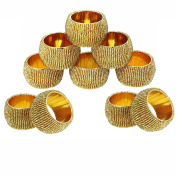 Prisha India Craft ® Beaded Napkin Rings Set of 10 golden Decorations Christmas Ornaments, Perfect for Dinners, Parties, Weddings - Artisan Crafted in India - GIFT ITEM