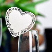 YUFENG Wine Glass Card Laser Cut Heart shaped Table Name Card Escort Cup Cards For Wedding Birthday Party