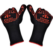 ETMATE BBQ Grilling Cooking Gloves - 932°F Extreme Heat Resistant Gloves-Set of 2 Kitchen Gloves-Five Fingers Heat proof Oven Gloves Set - 1 Pair