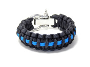 Paracord Survival Bracelet Black Thin Blue Line Police Stainless Shackle