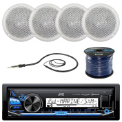 JVC KD-X33MBS Marine Boat Yacht Radio Stereo Player Receiver Bundle Combo With 4x Magnadyne WR45W 13cm Inch White Waterproof Outdoor Speakers, Enrock 60cm Radio Antenna, 15m 16g Speaker Wire