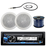 JVC KD-X33MBS Marine Boat Yacht Radio Stereo Player Receiver Bundle Combo With 2x Magnadyne WR45W 13cm Inch White Waterproof Outdoor Speakers + Enrock 60cm Radio Antenna + 15m 16g Speaker Wire