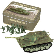 Battery Operated Tank In A Tin With 12 Green Army Men For Battle Play