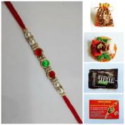 Rakhi Thread Pack with Roli Chawal, Card & Chocolate- Indian Festival Raksha Bandhan