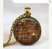 . Vintage Library necklace , Librarian gift pendant , Vintage Books jewellery , books gift, writer ,teacher , book nerd gift necklace