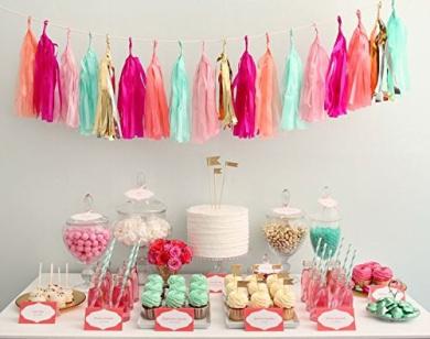 24 PCS Shinny Tissue Paper Tassels for Party Wedding Gold Garland Bunting Pom Pom