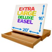 "U.S. Art Supply ""Super Solana"" Extra Large 50cm Wide Adjustable Wood Desktop Easel with Large 5.1cm Tall 41cm Deep Drawer"