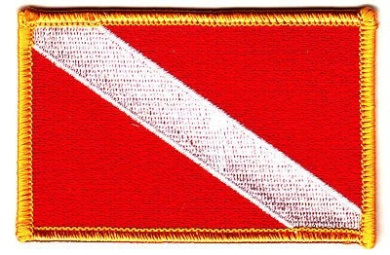 DIVER DOWN SCUBA DIVING FLAG-Iron On Embroidered Patch w/Gold Border/Nautical