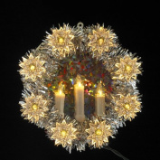20cm Lighted Silver Tinsel Wreath and Candle Christmas Tree Topper - Clear Lights
