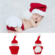 New Born Baby Handmade Crochet Knit Christmas Photograph Hat and Underwear