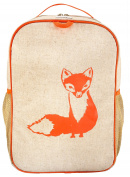 SoYoung Raw Linen Grade School Backpack, Orange Fox