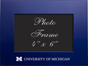 University of Michigan - 4x6 Brushed Metal Picture Frame - Blue
