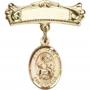 Gold Filled Baby Badge with St. James the Greater Charm and Arched Polished Badge Pin 2.2cm X 1.9cm