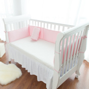 TillYou Baby Crib Bumper -Premium Woven Cotton, Padded Breathable Fill-in(Microfiber)----Pink