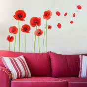 Dnven (41cm w x 70cm h) DIY High Definition Red Poppies Beautiful Flowers Vines and Butterflies Vinyl Peel and Stick Wall Decals, Living Room Bedroom Children Room Nursery Removable