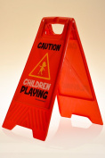 """Children Playing Yard and Driveway Caution Sign (Double-Sided, Red) - """"Caution, Children Playing"""""""