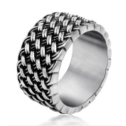 Chryssa Youree Men's Retro Design Jewellery Wedding Band Woven Titanium Steel Silver Rings 7 to 12(DJZ-1)