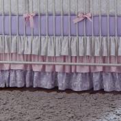 Carousel Designs Lilac and Silver Grey Damask Crib Skirt Three Tier 46cm Length