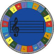 Joy Carpets Kid Essentials Music & Special Needs Round Elementary Note Worthy Rug, Multicoloured, 4m