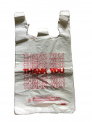 TashiBox T-Shirt Carryout Bags / Thank You Bags / Reusable Grocery Bags - Measures 29cm X 16cm X 50cm , 15mic, 0.6 Mil - 308 Count
