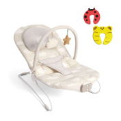 Mamas & Papas Baby Musical Vibrating Buzz Bouncer Sweet Dreams Chair - Suitable From 0-6 Months - Incs 2 Safety Door Stoppers