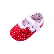 JACKY Baby Shoes,Girls Flower Soft Sole Toddler PU Leather Crib Shoes (M