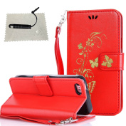 iPhone 5C Leather Cover Butterfly,iPhone 5C Case Red,TOCASO Thin Lightweight Colour Pattern PU Leather Wallet Embossed Gold Glitter Butterfly Flower Soft Silicone Inner With Hand Strap Full Body Protection Flip Holster with Build-in Stand Up View Funct ..