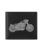 U LIFE Men Top Genuine Leather Wallet Horizontal Pocket Motorcycle Pattern Purse Silver/Golden