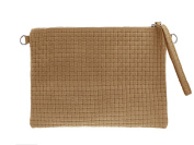 """Large Wristlet Clutch """"Rapunzel Skinny in various colours in woven / Genuine Leather / Poch bag 18.5 x 27.5 x 1.5"""