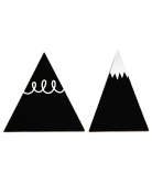 A Little Lovely Company - Coat Rack, Coat Hooks - Set of 2 Black Pateres Mountains