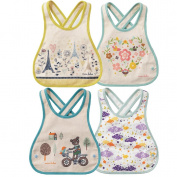 JT-Amigo 4pcs Set Baby Bibs Cotton Waterproof, Green