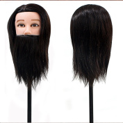 Neverland Beauty Man Mannequin Head 36cm 100% Real Human Hair With Beard Cosmetology Hairdressing Training Manikin Doll