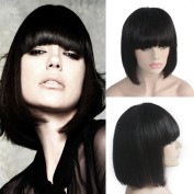 Zana Unprocessed Brazilian Virgin Bob Cut Human Hair Wig Lace Front Wigs Straight Glueless Full Lace Front Wig with Bangs for Women