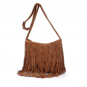 AiSi Womens Hippie Style Shoulder Bag Cowgirl Tassel Messenger Bag Faux Suede Cross Body Bag Colour Light Tan