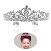 Tinksky Wedding Tiara with Comb Shining Crystal Rhinestones Bridal Tiaras Headband