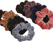 Cuhair(tm) 8pcs Women Girl Large Velvet Hair Scrunchie with Metal Elastic Hair Band Ponytail Holder Tie Accessories