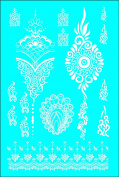WHITE HENNA TATTOO LACE TATTOO White Jewellery Tattoo Fake Temporary Tattoo Sticker N10+
