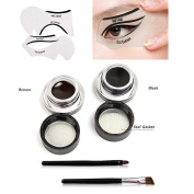 VONISA Waterproof 2 in 1 Gel Eyeliner Set-Beauty Cosmetics Make Up Long-lasting Shadow Wear Gel Cream Eye Liners Brown and Black with Makeup Eyebrow Brush Kit + Cat Shaping Eye Liner Stencils