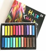 24 Piece Hair Chalk Vibrant Colours Temporary Hair Dye Gloves & Cape Included