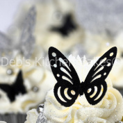Black Butterfly Cake Decorations - Black Edible Wafer Butterflies x 12 - Deb's Kitchen Cakes