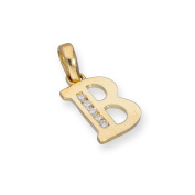 9ct Gold & Clear CZ Crystal Hanging Alphabet Letter Charm A-Z