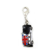 Black Car Union Jack Silver tone Dangle Bead for Silver European Charm Bracelets Clip on Charm for chain link bracelet