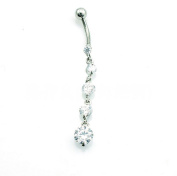 HYIdealism Silver Triple Beads Design Dangle Navel Belly Button Barbell Ring Body Piercing Pierced Jewellery