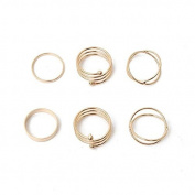 Eros 6pcs Punk Gold Plated Cross Spiral Stack Above Knuckle Rings