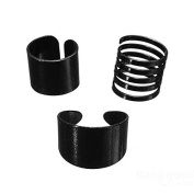 Eros 3pcs Black Open Spiral Stack Above Knuckle Rings Costume Jewellery