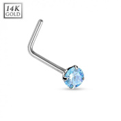 14 K White Gold Curved Nose Piercing Crystal Aqua