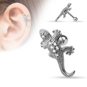 Blackama Cement Cartilage Tragus Helix Earring Bar Barbell Stud 316L Stainless Steel Cubic Zirconia CZ Lizard Gecko Lizard Silver Clear Ladies