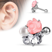 Blackama Cement Cartilage Tragus Helix Earring Bar Barbell Stud Pearl Rose Flower Heart Butterfly 316L Stainless Steel Cubic Zirconia CZ Silver Pink Clear Women