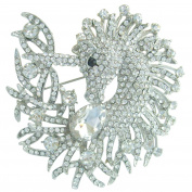 Sindary 8cm Silver Tone Unique Animal Unicorn Horse Brooch Pin Pendant Clear Austrian Crystal UKB5954
