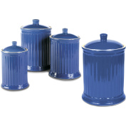 OmniWare Simsbury 4 Piece Blue Stoneware Canister Set